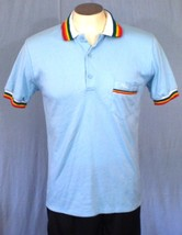 Liki Liki Medium Casual Shirt Blue Rainbow Brady Bunch Gay Pride Made in... - $20.00