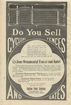 Cyclone Fences and Gates 1909 Magazine Ad Cyclone Fence Co Waukegan & Cl... - $17.82