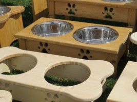 Dog Bone Wood Feeder Amish Handmade Medium Raised 2 Qt Paw Print Bowls Unfinished - $73.26