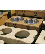 Medium DOG BONE WOOD FEEDER Amish Handmade Raised 2QT Paw Print Bowls UN... - $83.27