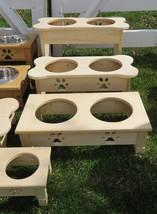 Extra Tall Dog Bone Feeder Amish Handmade Raised 2QT Paw Print Bowls Unfinished - $102.87