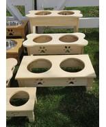 EXTRA TALL DOG BONE FEEDER Amish Handmade Raised 2QT Paw Print Bowls UNF... - $102.87