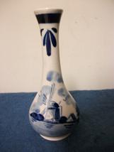 DELFT HANDPAINTED SMALL BLUE & WHITE VASE PRETTY DUTCH - $14.99