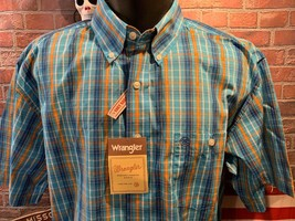WRANGLER Blue White Orange Plaid Button Front NEW NWT Shirt Size L - $29.69