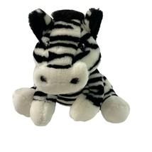 "FAO Schwarz Zebra 14"" Plush Sitting Stuffed Animal Toy Black White Striped - $17.81"