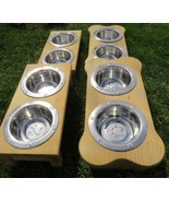 Small TABLE TOP DOG FEEDER Handmade Puppy Wood Stand 2QT Paw Print Bowl ... - $78.37