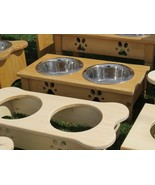 """""""TABLE TOP"""" DOG FEEDER Amish Handmade Medium Elevated Stand 2QT Paw Prin... - $76.23"""