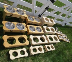 """Table Top"" Dog Feeder Amish Handmade Tall 15"" Raised Stand 2 Qt Paw Print Bowls - $78.21"