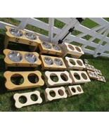 "Tall 15"" TABLE TOP"" DOG FEEDER Handmade Raised Stand 2QT Paw Print Bowl ... - $112.67"