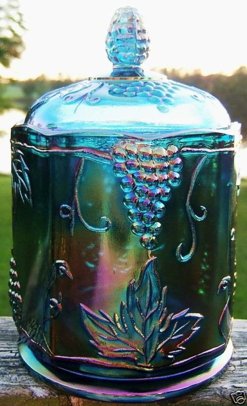 VINTAGE IG CARNIVAL GLASS HARVEST GRAPE CANISTER 7 INCH