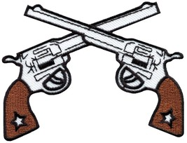 Six guns pistols cowboy western outlaw embroidered applique iron-on patc... - $2.95
