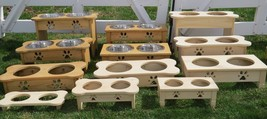 """Table Top"" Dog Feeder Handmade Small Dogs Puppy Food Stand 2 Qt Bowls Unfinished - $70.29"