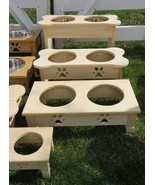 """15"""" TALL TABLE TOP DOG FEEDER Handmade Elevated Stand w/ 2QT Bowls Unfin... - $107.77"""