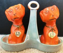 VINTAGE I'M PEP I'M SALT DOG SALT PEPPER SHAKERS 1950s