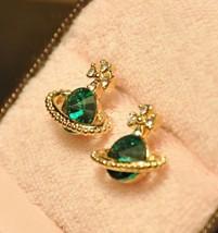 Lovely Saturn CZ Diamond Stud Earrings - $7.99