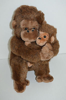 "Primary image for Vintage Dakin Monkey Holding Baby Plush Brown Sitting 13"" 1981"
