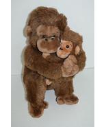"""Vintage Dakin Monkey Holding Baby Plush Brown Sitting 13"""" 1981  - $19.78"""