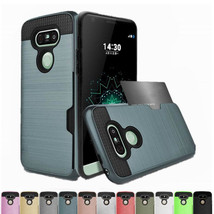 Shockproof Armor Card Holder Hybrid Rugged Hard Case Cover For LG G6 G7 ... - $9.00