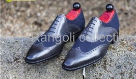 Handmade Men two tone suede and leather mix shoes, Mens wing tip formal shoes - $159.99