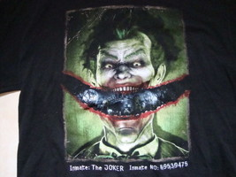 Batman Arkham Asylum The Joker Smile Mug Shot Video Game Black T Shirt Size XL - $15.53