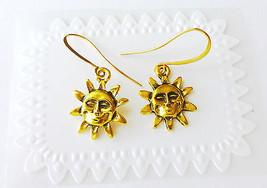 Gold Sun Celestial Dangle Earrings - $9.28