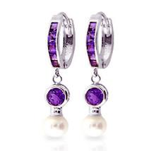4.15 Carat 14K Solid White Gold Huggie Earrings pearl Amethyst - $288.29