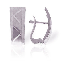 14K Solid White Gold Half Moon Earrings Diamond Cut - $114.52
