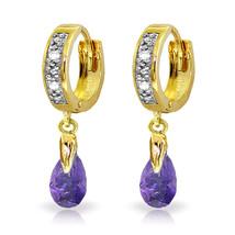 1.37 Carat 14K Solid Gold Hoop Earrings Diamond Amethyst - $203.74