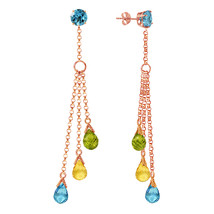 14K Solid Rose Gold Chandelier Earrings with Blue Topaz, Citrines & Peridots - $273.90