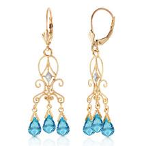 4.81 Carat 14K Solid Gold Chandelier Diamond Earrings Blue Topaz - $277.02