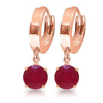 2.5 Carat 14K Solid Rose Gold Hoop Ruby Drop Earrings - $205.47
