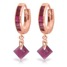 3.7 Carat 14K Solid Rose Gold Hoop Earrings Dangling Ruby - $363.23