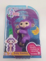 WowWee Fingerlings Baby Monkey Mia Purple Includes Bonus Stand - $26.39