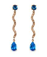 14K Solid Rose Gold Earrings withDiamonds & Blue Topaz - $374.12