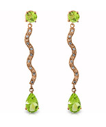 14K Solid Rose Gold Earrings withDiamonds & Peridots - $374.12