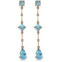 14K Solid Rose Gold Chandelier Earrings withDiamond & Blue Topaz - $207.08