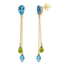 7.5 Carat 14K Solid Gold Chandelier Earrings Blue Topaz Peridot - $229.46