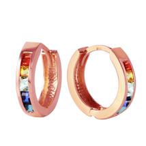 1.3 Carat 14K Solid Rose Gold Hoop Earrings Multicolor Sapphire - $259.27