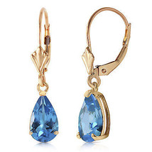 3.77 Carat 14K Solid Gold Extravaganza Blue Topaz Earrings - $177.89