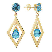 2.4 CTW 14K Solid Gold Euphoria Blue Topaz Earrings - $230.00