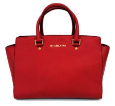 MICHAEL Michael Kors Selma Medium Top Zip Chilli Red Saffiano Leather Sa... - $245.00