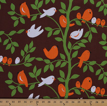 Cotton Tweetie Pie Birds Branches Leaves Fabric Print by the Yard D506.34 - $10.95