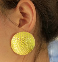 Oversized Round Candy Stud Earrings for Women(Yellow) - $7.99