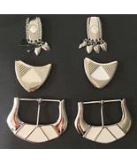 Mixed Lot 6 Belt Buckles & Metal Enamel Trims Crafts & Sewing • Art Deco... - $11.39