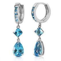 5.62 Carat 14K Solid White Gold Glint In Your Eyes Blue Topaz Earrings - $372.16