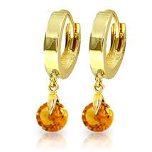 1.6 Carat 14K Solid Gold Hoop Earrings Natural Citrine - $153.68