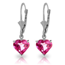3.25 Carat 14K Solid White Gold Leverback Earrings Pink Topaz - $177.42