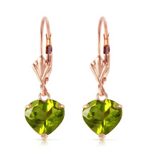 3.25 Carat 14K Solid Rose Gold Leverback Earrings Natural Peridot - $179.98