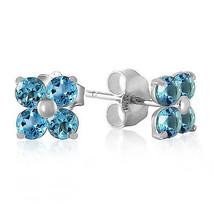 1.15 Carat 14K Solid White Gold Stud Earrings Blue Topaz - $116.16