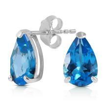 3.15 Carat 14K Solid White Gold Stud Earrings Natural Blue Topaz - $129.59